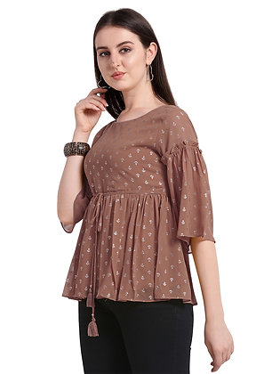 Women Round Neck Top With Pleated Sleeves