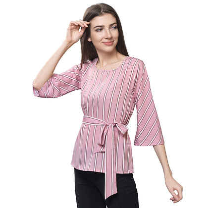 FabBucket Baby Pink Regular Fit Crepe Top with styling on the waist