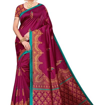 PAGAZO Women's Magenta Colour animal print Art Silk Sari