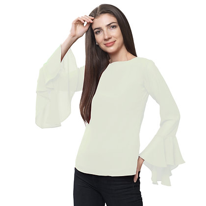 FabBucket Cream Regular fit Georgete top with Bell sleeves