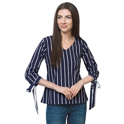 FabBucket Navy Stripes Regular Fit Crepe Top