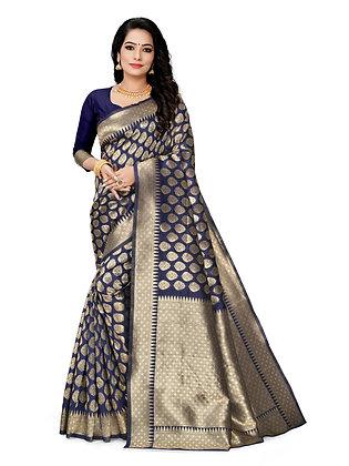 Astonban For Women Blue Colored Embellished Jacquard Saree
