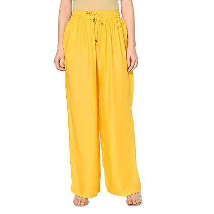 Murat For Women Relaxed Cotton Reyon Blend Yellow Color Palazzo