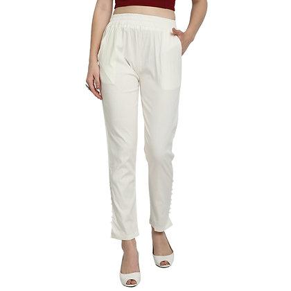 Murat For Women Cotton Lycra Blend Cream Color Cigarette Pants