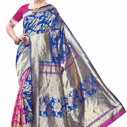 Astonban For Women Blue Colored Floral Print Jacquard Saree