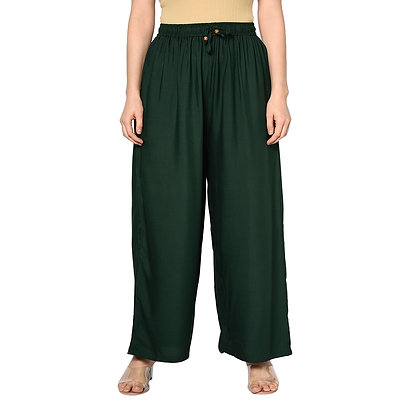 Murat For Women Relaxed Cotton Reyon Blend Dark Green Color Palazzo