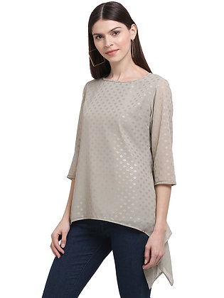 Women Round Neck Top With Elbow Sleeves