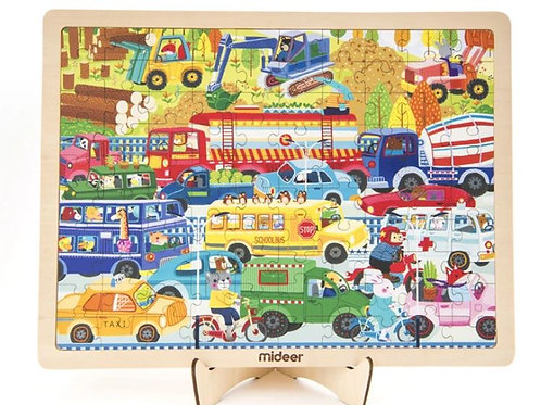 Mideer 100-piece Framed Standing Puzzle: Busy Traffic