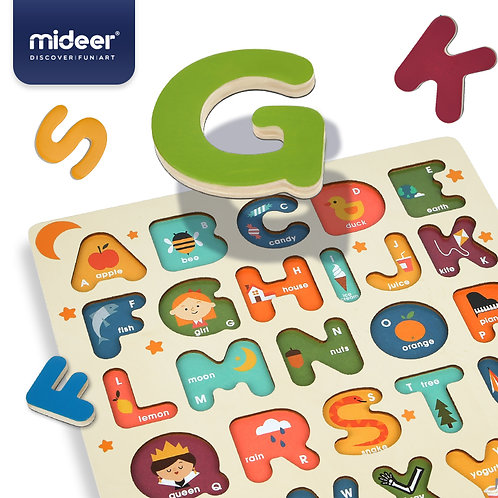 MiDeer See Inside ABC Animals Large Wooden Colorful Alphabet Puzzle
