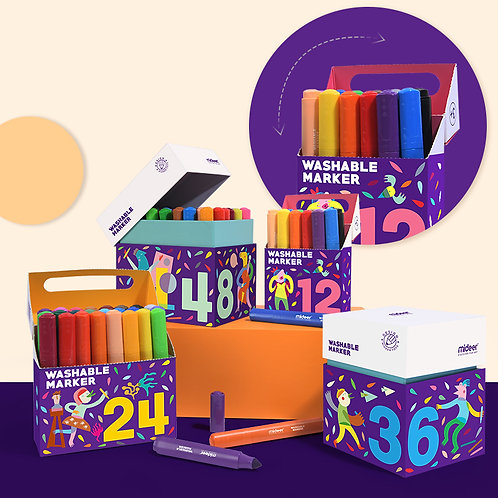 Mideer Washable Marker - 24/48 Colors Non-Toxic Safe for Kids