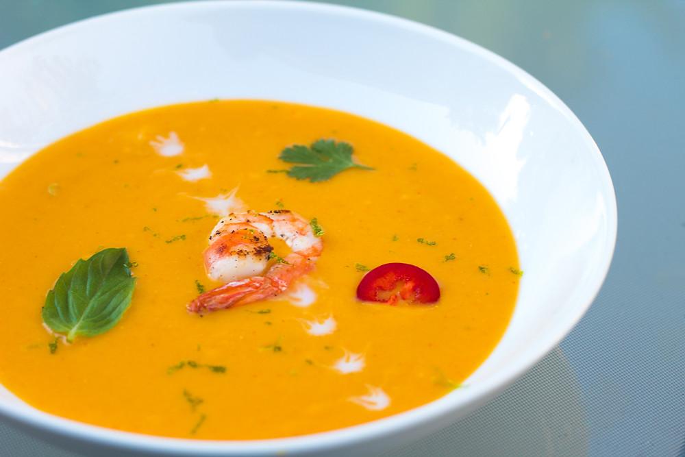 Thai Pumpkin Soup with Sautéed Shrimp