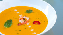 Thai Pumpkin Soup with Sautéed Shrimp
