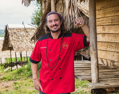 Chef Steven Ferneding Outside of Huts in