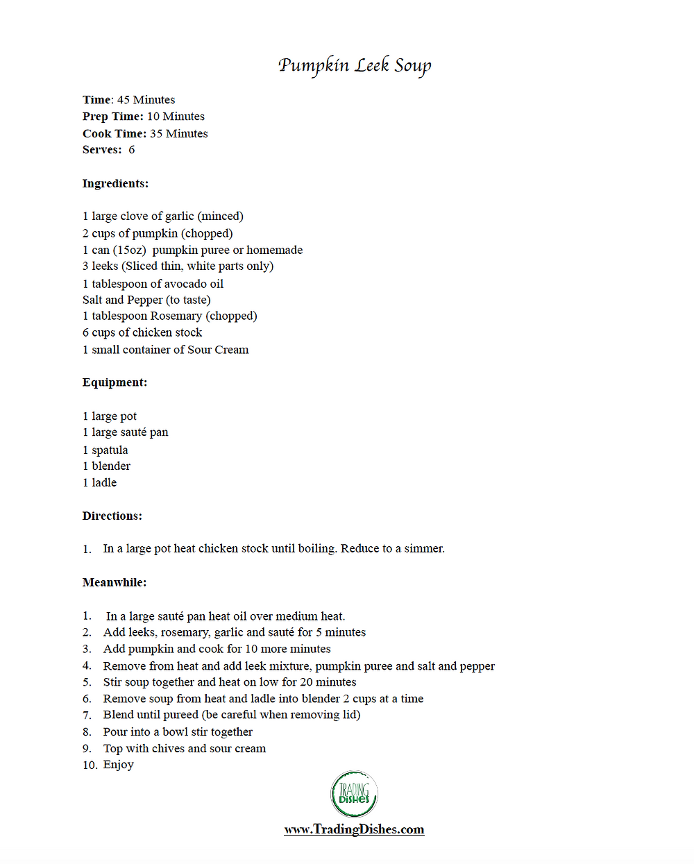 Pumpkin Leek Soup Recipe