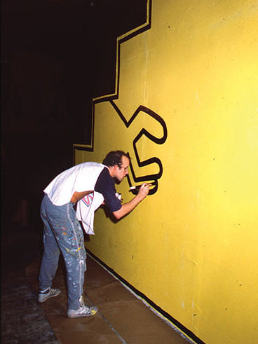 Keith Haring at work. Photo- Ben Buchana