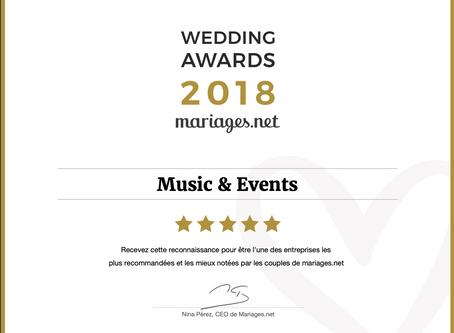 """Music & Events reçoit le prix le plus prestigieux du secteur nuptial : le Wedding Awards """"Musique"""""""