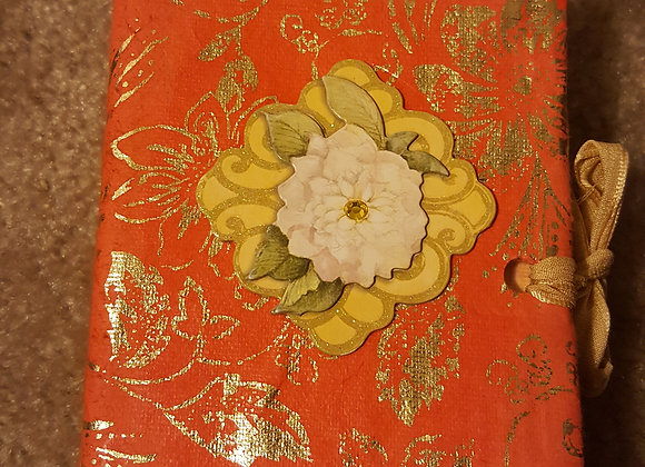 Extra Small Red and Gold Handsewn Junk Journal