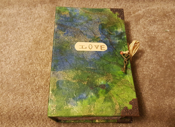 """""""Love"""" Green and Gold Cover Handsewn Journal"""