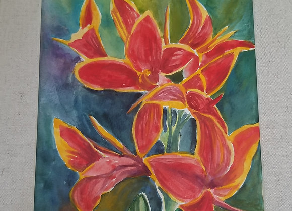Original Watercolor Painting - Red Canna Lilies (FRAMED)