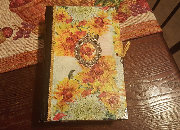 Large Vintage Sunflower Cover Handsewn Journal