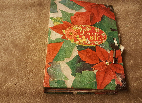 Christmasy Poinsetta-Cover Handsewn Journal