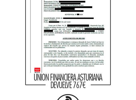 Union Financiera Asturiana obligada a devolver 767€ y eximir 1534€ de una venta a domicilio