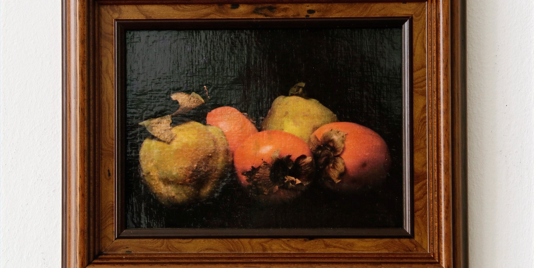 Quince and Persimmon in wooden frame