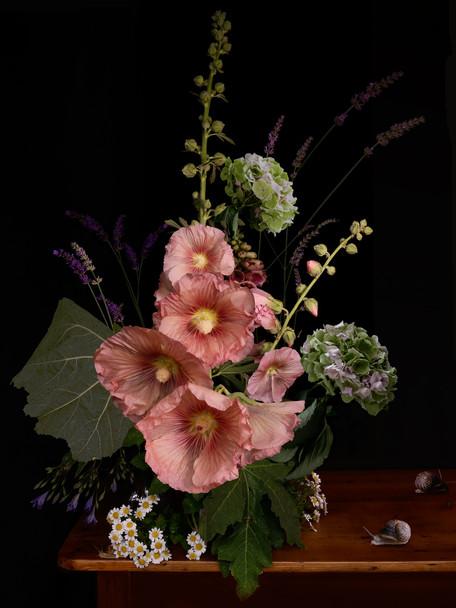 A Vase of Flowers, Hollyhock