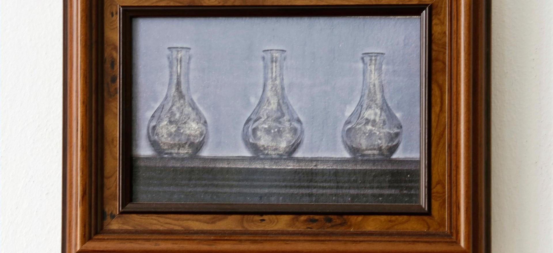 Glass Vases 1 in wooden frame
