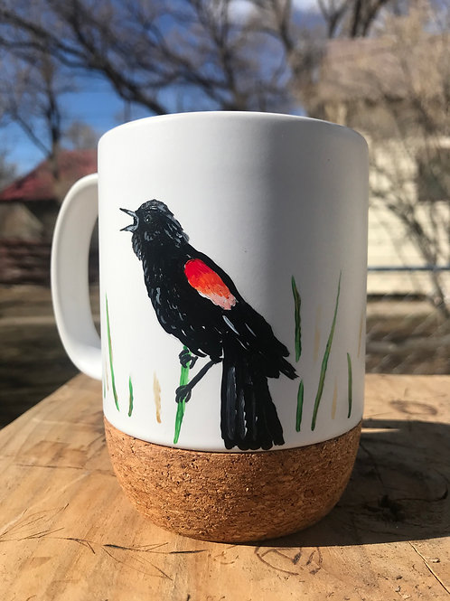 Red-winged Blackbird To Go Cork Mug