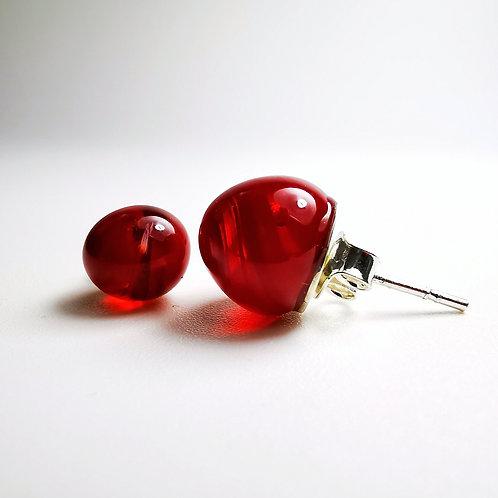 Red Clear Drops Earrings