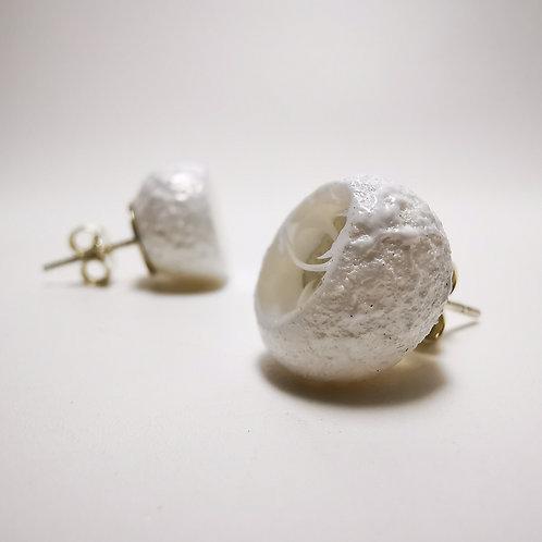 Wanning Moons Glass Silver Stud Earrings