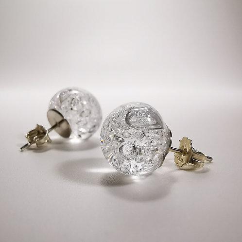 Crystal Moons Stud Silver Earrings