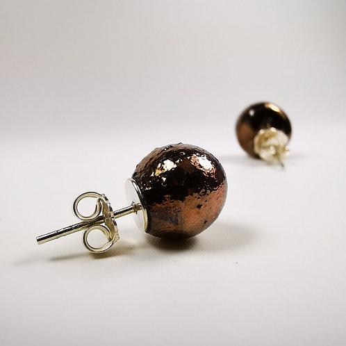 Copper Mercury Stud Silver Earrings