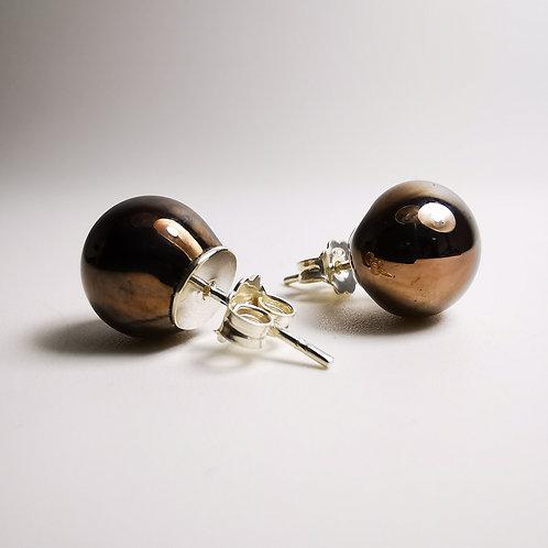 Interstellar Copper Silver Stud Earrings