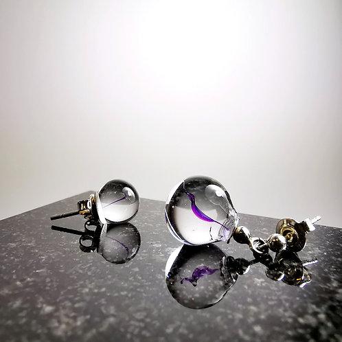 Clear Violet Drops Earrings