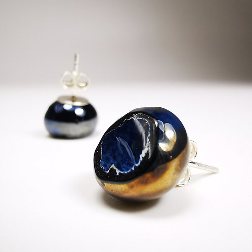 Io Moons Stud Silver Earrings