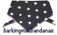 Dark Blue Dog Bandana, Cotton dog bandana, stars, dog clothing, dogs, uk