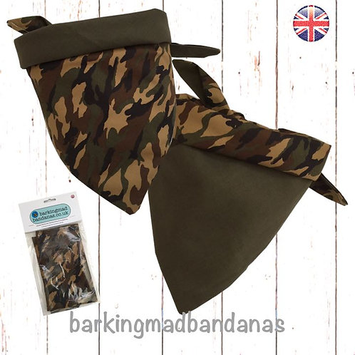 Double Side Camouflage Dog Bandana, Reversible Dog Bandanas