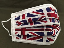 Union Jack Face Mask, Quality Cotton, Triple Layer, Designer Style, Elastic or tie Style, Handmade in the UK, Fast and Free Uk Delivery