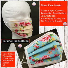 Floral Face Mask, Designer Fast Mask, Fast Free Delivery, Triple Layer Cotton, Washable, Breathable