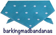 Teal Polka dot dog bandana, dog bandanas, dog clothing uk, dog birthday gifts