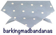 Blue Polka Dot Dog Bandana, UK dog bandanas, dog birthday gifts
