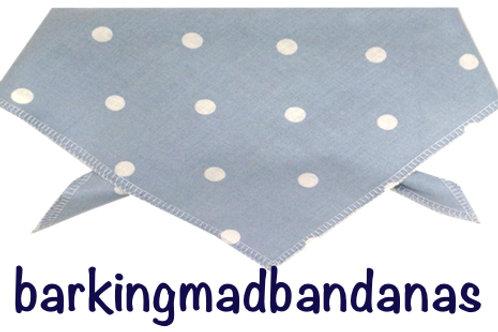 Baby Blue Polka Dot dog bandana, luxury dog bandanas, trade, wholesale dog clothing UK