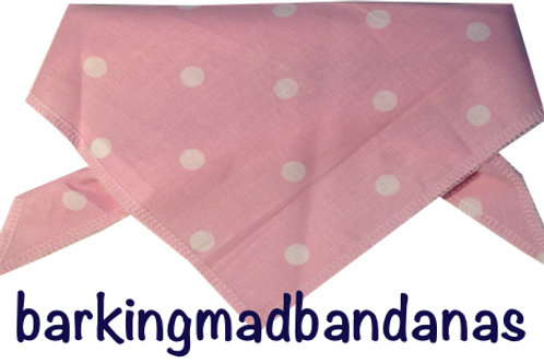 Baby Pink polka dot luxury dog bandana, trade, wholesale dog supplies, dog bandanas UK