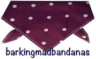 Plum Polka dot dog bandana, dog bandanas, dog clothing uk, dog birthday gifts