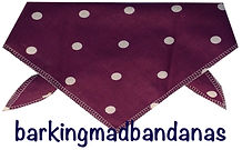 Dog Clothing, Plum Dog Bandana, Polka Dot Bandana, Trade Dog Bandanas, dog grooming