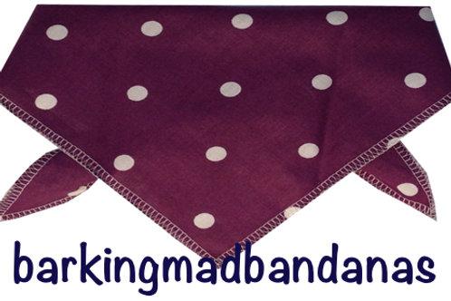 Plum Polka Dot Dog bandana, Luxury dog scarf, Luxury dog bandanas