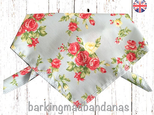 Floral Dog Bandana, Girl Dog Bandana, Dog Bandana Tie On, Tie Style Birthday Bandana, Dog Bandanas UK, Dog Neckerchief UK