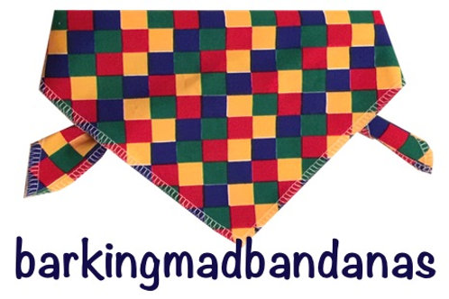 Chequers Dog Bandana, Multi Colours Cheap, Value Dog Bandanas, UK Clothes